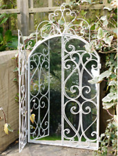 White Scroll Mirror Metal Ornate Garden Arched With Doors Outdoor Patio Decor