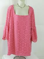 Jessica London Womens Pink Blouse Top Size 22/24  3/4 Sleeve