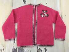 PIN-UP SWEATER - Vtg 40s-50s Pink Floral Bombshell Rockabilly Cardigan, S-M