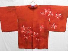 Dark Orange Silk Japanese HAORI w/Flowers E409