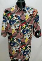 VTG REYN Spooner Mele Kalikimaka Hawaiian Shirt L Christmas Surfing Santa JINGLE