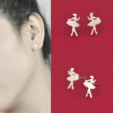 Fashion Beauty Ballet Girl Silver Plated Ear Stud Earrings Mini Earrings Jewelry