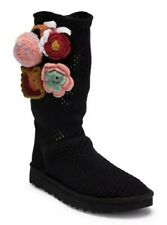 NEW UGG CROCHET CLASSIC 1095270 BLACK FLORAL FLOWERS FLOWER POWER BOOTS WOMENS 7