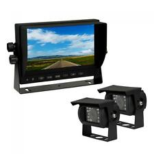"""7""""Analog TFT LCD Color Monitor +2 Visor Rear View Back Up Cameras System Truck"""