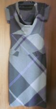 Ladies Ted Baker Grey & Purple Tartan Check Cowl Neck Dress - Ted Size 2