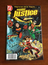 YOUNG JUSTICE # 1 VERY FINE DC COMICS ROBIN IMPULSE SUPERBOY NEWSSTAND EDITION