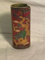 Vintage Cloisonne Enamel Brass Asian DRAGON cigarette LIGHTER Cover Case SLEEVE