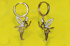 E6 Very Cute 14K Real Yellow GOLD Pair of Earrings disney FAIRY Tinkerbell girls