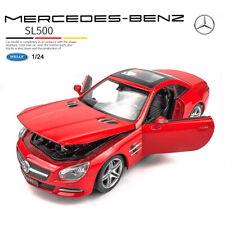 WELLY FX Diecast Metal Model Car Red 2012 MERCEDES-BENZ SL 500 in 1:24