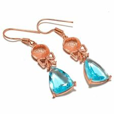 Brazilian Mines Faceted Blue Topaz Gemstone Rose Gold Plated Earring 1.98""