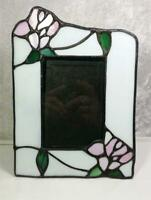 """Stained Glass Frame Photo Size 3.5""""x5"""" Tabletop White Pink Green Shabby Cottage"""
