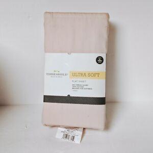 TARGET Ultra Soft Flat Sheet (Twin XL) Light Pink Linen 300 TC Cotton Threshold