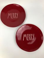 Rae Dunn Magenta MERRY Red Christmas Dinner Plate 11 inch Set of 2 New