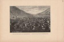 Chur und Blick gegen das Vorderrheintal Coire Coir Cuira DRUCK von 1895 Schweiz