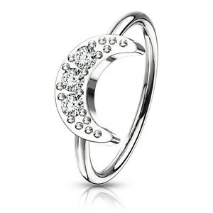 CZ PAVED CRESCENT MOON NOSE CARTILAGE RING HOOP BRASS PIERCING JEWELRY (20G)