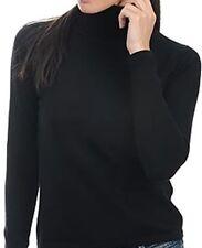 Balldiri 100% Cashmere Damen Pullover Rollkragen ohne Bündchen schwarz S