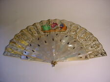 19th C. FRENCH MOP & PAPER FAN w/Gilded Silver Inlaid