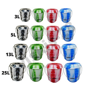Bucket with Lid 3/5/13/25 Litre Double Colours Assorted Lightweight Storage DIY