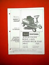 "SEARS CRAFTSMAN REAR ENGINE 7HP 26"" RIDING MOWER MODEL 131969220 OWNER'S MANUAL"