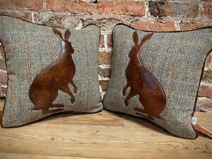 "Harris Tweed & Leather Hare Cushion 17"" X 17"""