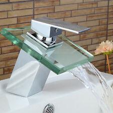 Rubinetto da Bagno Cascata Design Moderno Miscelatore Lavabo Ottone Cromo Vetro