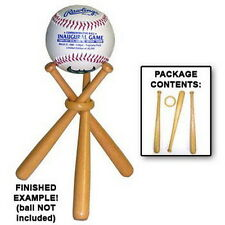 Mini Baseball Bats Display Stand Natural Varnished Wood Crafted Ball Holder Kit