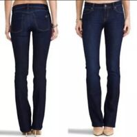 DL1961 Women's Cindy Slim Dark Wash Blue Boot Cut Jeans Low Rise Zip Fly Size 26