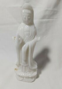 China white Marble stone carved Guanyin (观音)Statue H15cm