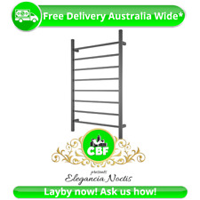 Square 8 Rung Bathroom Towel Ladder 1150 x 700mm Stainless Matte Black NonHeated