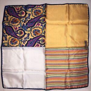 "J.Z. Richards Silk Pocket Square 16"" x 16"" Made in Italy Stripe Paisley Rainbow"