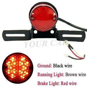 12V ROUND RED Motorcycle LED BRAKE TAIL LIGHT FOR BOBBER CHOPPER CAFE RACER ATVS