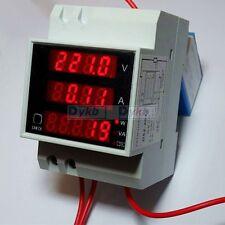 AC 110V 220V Digital DIN RAIL 100A watt power meter Ammeter Voltmeter 80-300V CT