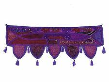 Purple Toran Vintage Embroidered Fabrics Indian Door Window Valance