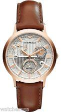 Emporio Armani Mens  Meccanico Silver Dial Leather Strap Automatic Watch AR4667