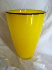 "New Price! Large 13"" Bright Yellow Glass Vase 9 1/4"" Purple Trim ""Big Bird"""