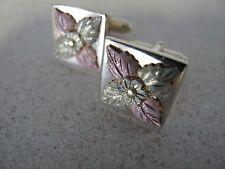 Cufflinks Pink Yellow Gold Leafs vintage signed ANSON vintage