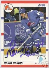 MARIO MAROIS Quebec Nordiques 1991 SCORE  AUTOGRAPHED HOCKEY CARD JSA