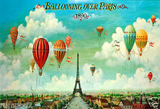VintageTravel Poster - Balloons Over Paris - French Travel Poster