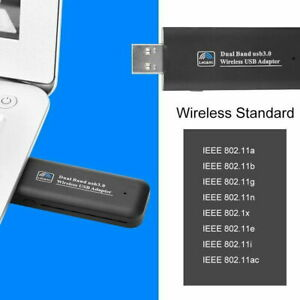 1200Mbps USB 3.0 Wireless Network Receiver WiFi Adapter Dual Band Dongle BLACK