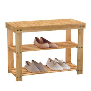 Sitzbank Schuhregal Schuhbank Schuhablage Holz 3 Ablagen aus  Bambus Natur