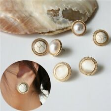 Luxury Round Marble Stone Cat Eye Pearl Earrings Women Big Ear Stud Jewellery