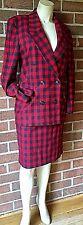 VTG 1990 Michael Kors KORS Ladies Buffalo Plaid Skirt Suit Italian Wool/Angora 8