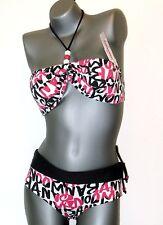 BANANA MOON  Bikini Set  -  38 / 42  -  schwarz - bunt   Neckholder  NEU