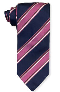 "Brioni Men's Navy Blue & Pink Striped 100% Silk Tie Made in Italy 3.5"" Width euc"