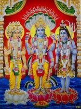 "Brahma  Vishnu Mahesh/ Hindu God Poster with Glitter (Size 12""X16"" Inches)"