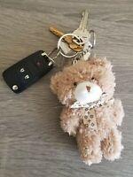 Designer Inspired Plush Brown Teddy Bear Keychain Key Fob Keyring Purse Charm