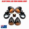Black 41mm Alloy skull LED Turn Signal Indicator Light Harley bobber dyna XL 883