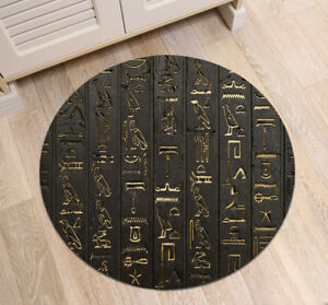 Ancient Egyptian Writing Floor Round Non-slip Bath Mat Home Area Rug Yoga Carpet