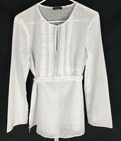 TAHARI By ELIE TAHARI White Wrap Top Size Medium Sheer Cover Up Spring Summer