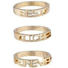 Lux Accessories Gold Tone Best Witches Forever BFF Best Friends Ring Set 3PC